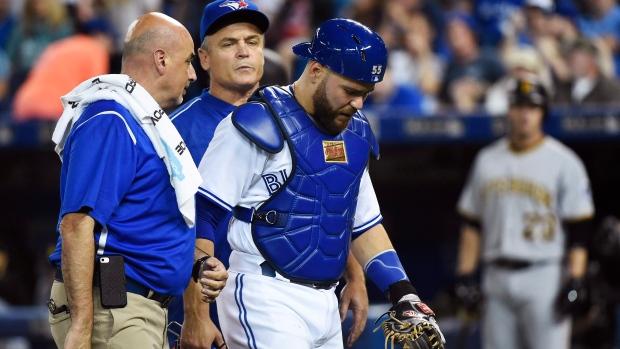 Injured Toronto Blue Jays catcher Russell Martin