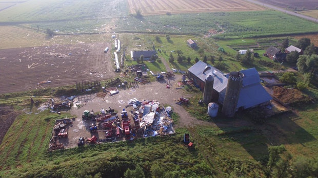 A CTV viewer captured drone footage of damage caused by Friday night's storm in Hawkesville, Onatrio. (Source: Nate Leis/ Twitter)