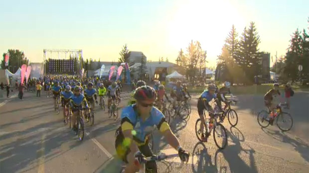 Participants in the Enbridge Ride to Conquer Cancer set off from Canada Olympic Park on Saturday morning.
