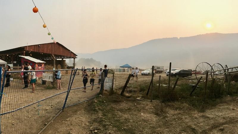 Festival-goers noticed the smoky conditions at Shambhala 2017. (Tomas Serrano)