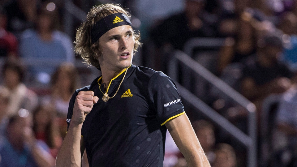 Alexander Zverev of Germany celebrates winning the first set over Denis Shapovalov of Canada during the semifinals at the Rogers Cup tennis tournament Saturday August 12, 2017 in Montreal. (THE CANADIAN PRESS / Paul Chiasson)