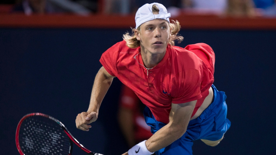 Denis Shapovalov of Canada serves to Alexander Zverev of Germany during the semifinals at the Rogers Cup tennis tournament Saturday August 12, 2017 in Montreal. (THE CANADIAN PRESS / Paul Chiasson)