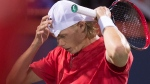 Denis Shapovalov of Canada fixes his cap as he faces Alexander Zverev of Germany during the semifinals at the Rogers Cup tennis tournament Saturday August 12, 2017 in Montreal. THE CANADIAN PRESS/Paul Chiasson