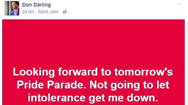 """Don Darling writes on Facebook: """"Looking forward to tomorrow's Pride Parade. Not going to let intolerance get me down."""""""