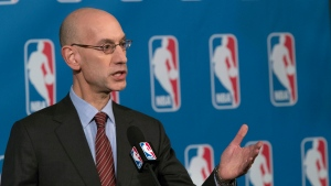"FILE - In this Oct. 21, 2016, file photo, NBA Commissioner Adam Silver speaks to reporters during a news conference, in New York. An NBA delegation, led by Silver, is in Israel as part of ""Basketball Without Borders."". (AP Photo/Mary Altaffer, File)"