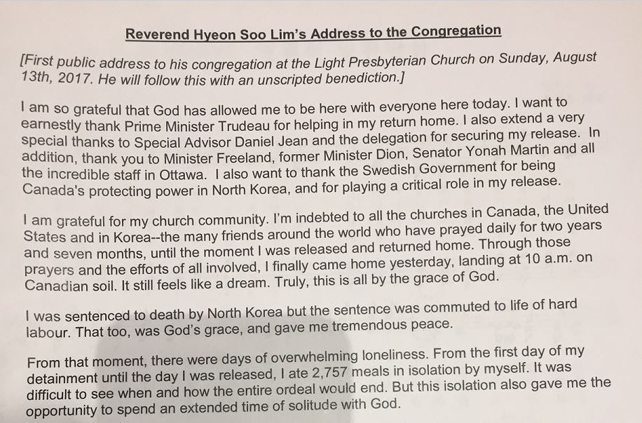 Rev. Lim's address to the congregation