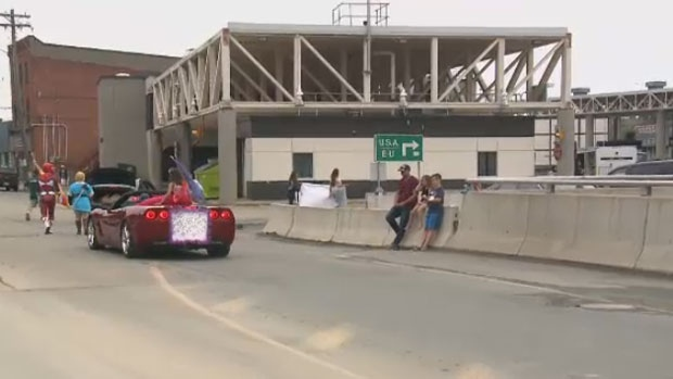 The parade crossed the border between Maine and New Brunswick for its 44th year, Saturday, Aug. 12, 2017.