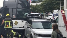 Tour bus hits pedestrians