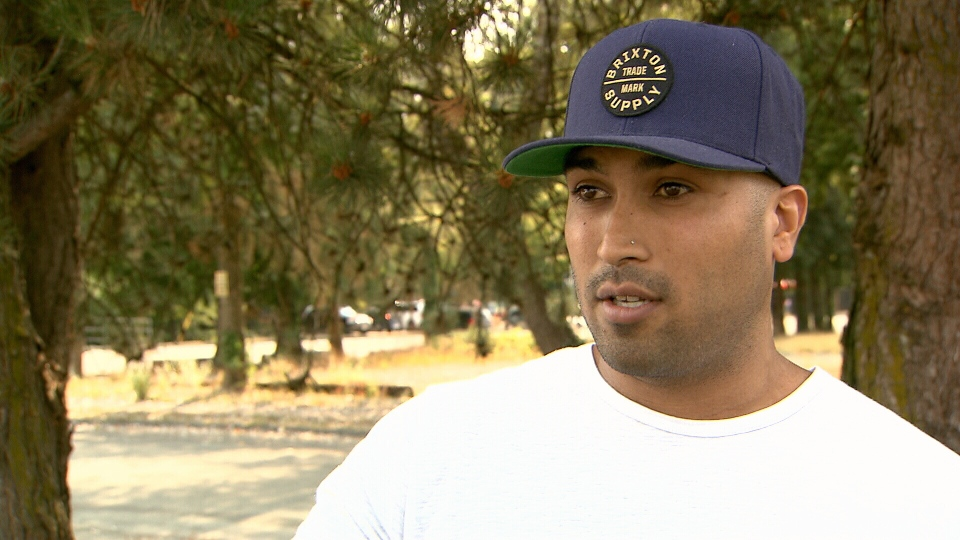 """Jay Thandi says what he say was """"like a movie"""" as police threw the woman at the wheel to the ground. (CTV)"""