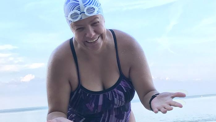 Brenda Lussier will have to brave large waves and strong winds on Lake Ontario. (Silent Swim to fight Cystic Fibrosis Facebook)