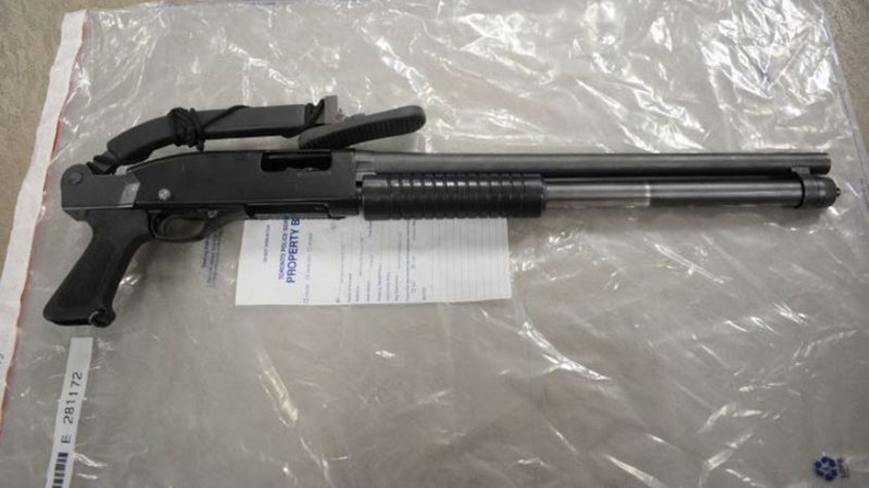 A folding stock shotgun allegedly seized in the execution of a search warrant at a shooting suspect's home Sunday August 13, 2017 is pictured. (Handout /Toronto Police)