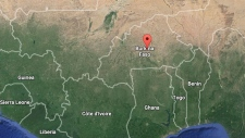 Ouagadougou, Burkina Faso is indicated on this map. (Google maps)