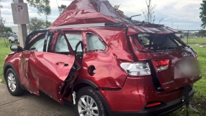 A Florida woman lit a cigarette, sparking an explosion of a propane barbeque grill being transported in her SUV. (@OrlandoPolice / Twitter)