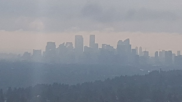 Strong winds overnight blew smoke into the city from the B.C. wildfires.