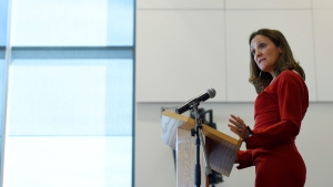 Foreign Affairs Minister Chrystia Freeland discusses modernizing NAFTA at public forum at the University of Ottawa in Ottawa on Monday, Aug. 14, 2017. (Sean Kilpatrick / THE CANADIAN PRESS)
