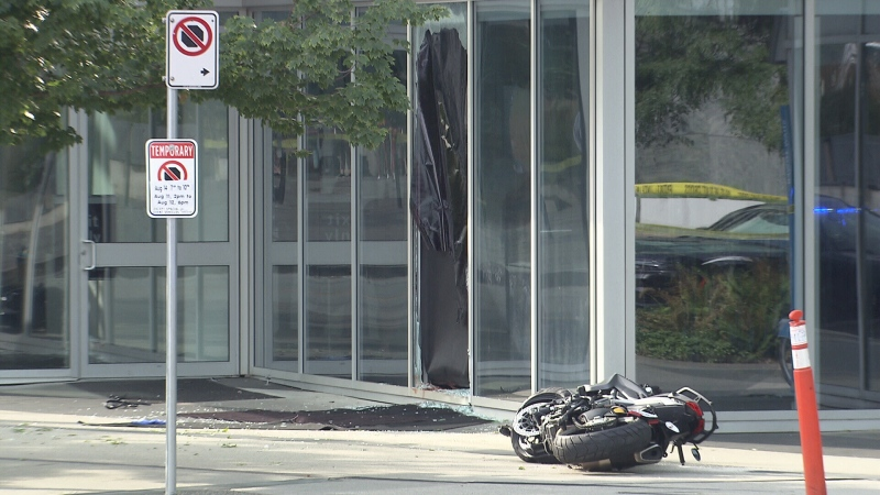 The scene of a fatal motorcycle accident on the downtown Vancouver set of 'Deadpool 2' is seen Aug. 14, 2017.