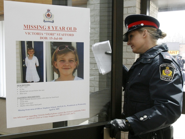 Oxford Community Police spokeswoman Const. Laurie-Anne Maitland walks into police headquarters before speaking to the media in Woodstock, Ont., on Monday, April 13, 2009. (Dave Chidley / THE CANADIAN PRESS)