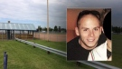A photo of Zachary Dingman, 30, is seen - along with the baseball diamond where the collision involving the pedestrian took place early Sunday, August 13, 2017. Supplied.