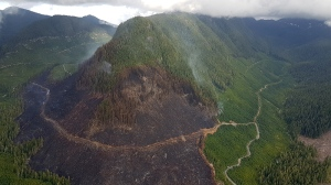 An aerial view of the devastation caused by a wildfire burning out of control in the Kaikash Creek area on northern Vancouver Island. Aug. 13, 2017. (Courtesy Coastal Fire Centre)