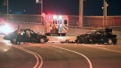 A 19-year-old driver, who had been drinking alcohol, veered out of his lane and into oncoming traffic on the Jacques Cartier Bridge (CTV Montreal/Cosmo Santamaria)