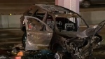 Family saved from burning car