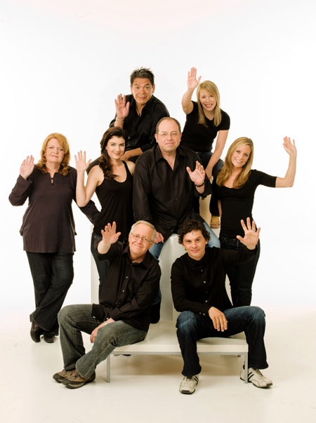 The cast of 'Corner Gas, from left to right, Janet Wright, Lorne Cardinal, Gabrielle Miller, Eric Peterson, Brent Butt,Nancy Robertson, Tara Spencer-Nairn, and Fred Ewanuick.