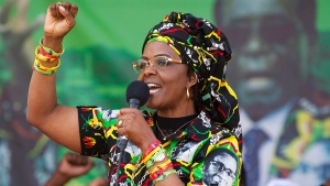 Zimbabwe's first lady, Grace Mugabe, greets supporters at a rally in Zimbabwe, July 29, 2017. (AP / Tsvangirayi Mukwazhi)