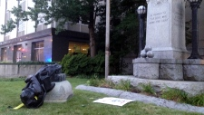 A toppled Confederate statue
