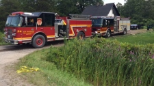 Firefighters battled a house fire on Mohawk Road in Six Nations on Tuesday, Aug. 15, 2017. (David Pettitt / CTV Kitchener)
