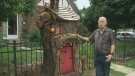 Billy Watterson shows off the Haywoods Hollow, the tiny fairytale cottage he carved from a tree stump in front of his Brampton home.