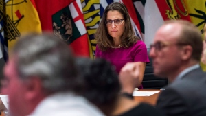 Foreign Affairs Minister Chrystia Freeland, centre, holds a roundtable consultation on NAFTA with labour stakeholders in Toronto on Tuesday, August 15, 2017. (Nathan Denette/The Canadian Press)