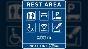 The government has created a new rest area sign that includes a Wi-Fi symbol to indicate where free internet will be offered. Aug. 15 ,2017. (B.C. Government)