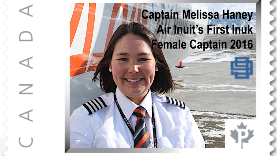 Melissa Haney is being honoured with a postage stamp for being Air Inuit's first Inuk female captain. (The Canadian 99s)
