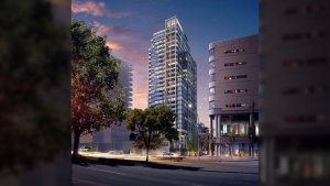 Condo developer Townline has released concept art of a proposed 29-storey tower which features a sleek, contemporary design with lots of glass and garden space. Aug. 15, 2017. (Courtesy Townline)