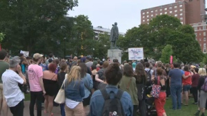 More than 100 people gathered around Halifax's Edward Cornwallis statue Tuesday to criticize the rise of the white supremacist movement in the United States.