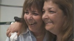 Sisters Adonna Jacobs and Helen Zolna-Abrams met for the first time Tuesday in Montreal