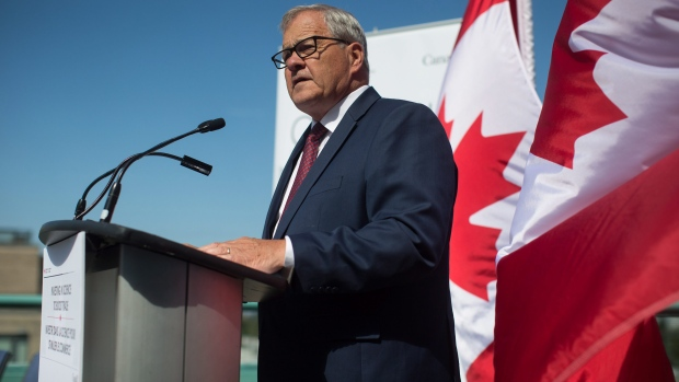 Federal Agriculture Minister Lawrence MacAulay speaks during a news conference in Vancouver, B.C., on Tuesday August 15, 2017. (THE CANADIAN PRESS/Darryl Dyck)