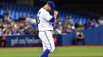 Toronto Blue Jays starting pitcher Marco Estrada reacts on the mound during fifth inning American league baseball action against the Tampa Bay Rays in Toronto on Tuesday, Aug. 15, 2017. (Frank Gunn / THE CANADIAN PRESS)