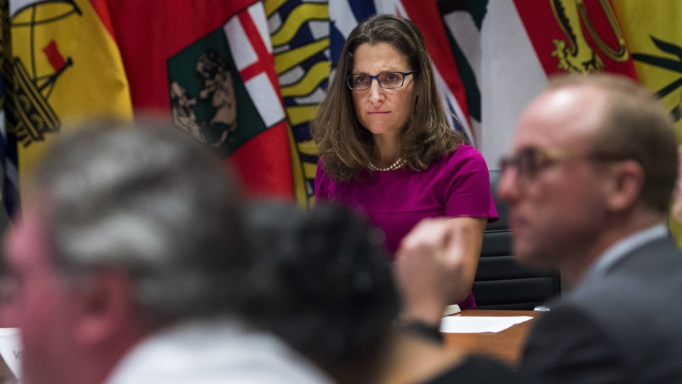 Foreign Affairs Minister Chrystia Freeland, centre, holds a roundtable consultation on NAFTA with labour stakeholders in Toronto on Tuesday, Aug. 15, 2017. (Nathan Denette / THE CANADIAN PRESS)