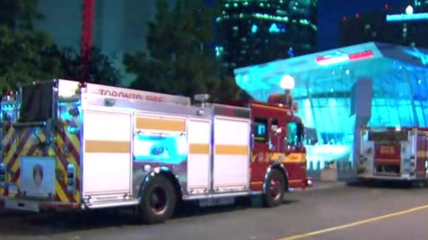 Fire crews are on the scene of an antenna fire at the CN Tower.