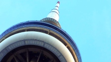 LIVE1: View of the CN Tower after fire breaks out