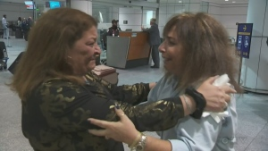Helen Zolna-Abrams and Adonna Jacobs enjoyed a tearful reunion at Montreal's Trudeau Airport on Tuesday.