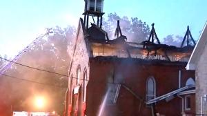 Burlington, Baptist church, fire