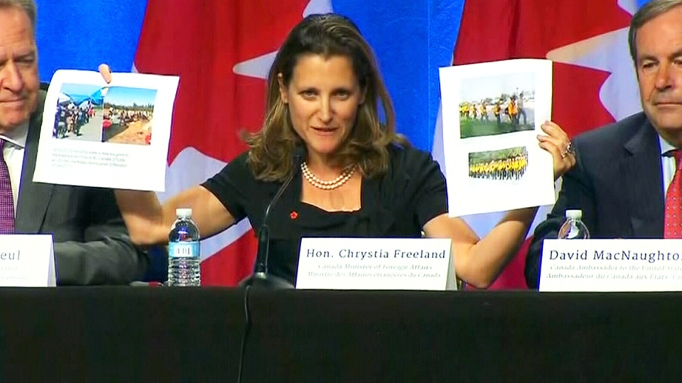 Foreign Affairs Minister Chrystia Freeland speaks at a trilateral press conference on NAFTA negotiations, in Washington, Wednesday, Aug. 16, 2017.
