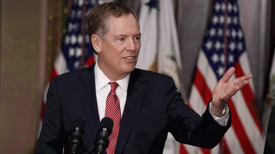 U.S. Trade Representative Robert Lighthizer in the Eisenhower Executive Office Building on the White House complex in Washington, on May 15, 2017. (Evan Vucci / THE CANADIAN PRESS / AP)