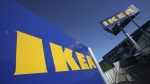 Ikea logo on the side of a store in New York City, on June 18, 2008. (Mark Lennihan / AP)