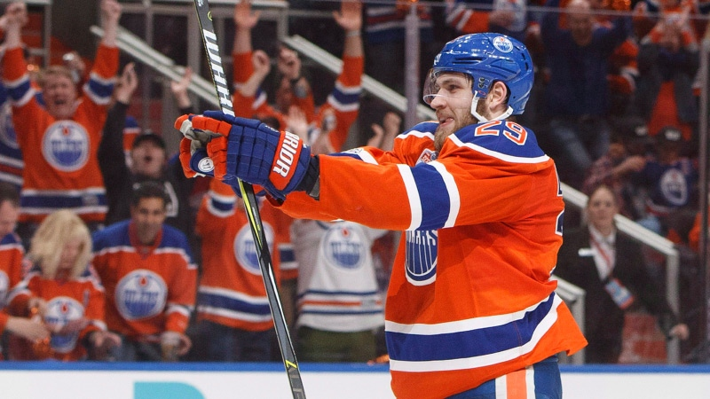 Edmonton Oilers' Leon Draisaitl (29) celebrates a goal agains the Anaheim Ducks during the second period in game six of a second-round NHL hockey Stanley Cup playoff series in Edmonton on Sunday, May 7, 2017. (THE CANADIAN PRESS/Jason Franson)