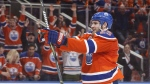 Edmonton Oilers' Leon Draisaitl (29) celebrates a goal against the Anaheim Ducks during the second period in game six of a second-round NHL hockey Stanley Cup playoff series in Edmonton on May 7, 2017. (Jason Franson/THE CANADIAN PRESS)