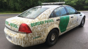 This Aug. 3, 2017 photo provided by U.S. Customs and Border Protection shows a U.S. Border Patrol car that had been sprayed with manure in Alburgh, Vt. (U.S. Customs and Border Protection via AP)