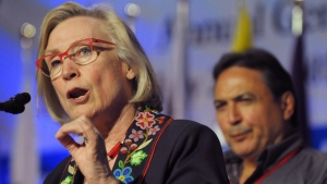 Minister of Indigenous and Northern Affairs, Carolyn Bennett speaks as AFN National Chief Perry Bellegarde looks on at the Assembly of First Nations annual general meeting in Regina, Sask., Tuesday July 25, 2017. (Mark Taylor/The Canadian Press)